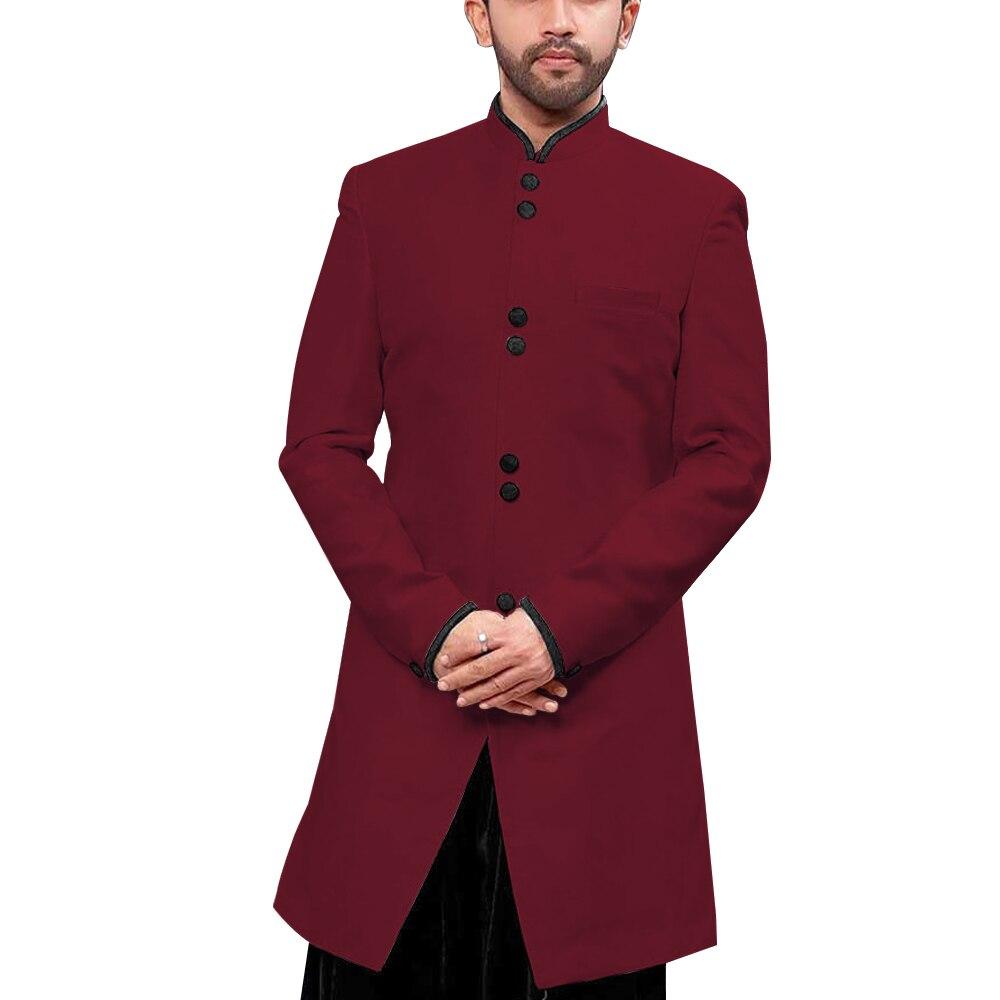 Mandarin Kragen Traditionelle Männer Anzug Jacke Stand up Kragen Modest Lange Blazer Indische Formales Ereignis Mantel Hochzeit Bräutigam Oberbekleidung - 3