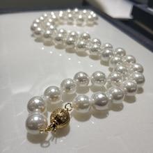 """Jxryxrth жемчужное ожерелье, ювелирное изделие 8-8,5 мм, круглая белая натуральная морская раковина, жемчужное ожерелье, 1"""" высокое блеск, Топ ожерелье"""