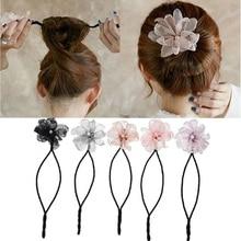 Женский обруч для волос «сделай сам» с цветочными пончиками, волшебная повязка для волос, инструмент для прически, жемчужные аксессуары для...