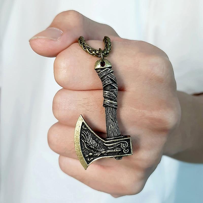 Vnox – collier Viking Vintage pour hommes, pendentif avec marteau Thor Mjolnir, amulette nordique scandinave, Rune Punk, bijoux