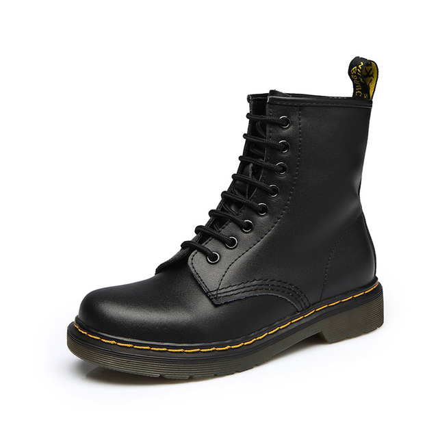 2019 New Women Genuine Leather Boots Winter Women Ankle Boots Waterproof Casual Lace Up Ladies Fashion Shoes Black Botas Mujer 1