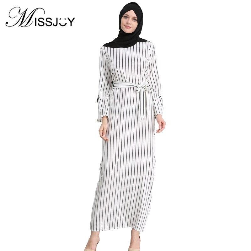 MISSJOY kleid Dubai Open Abaya Muslimischen Party kleider Frauen Kaftan Baumwolle Gestreiften Türkischen Islamischen Arabischen Frauen Kostüm Casual Wear