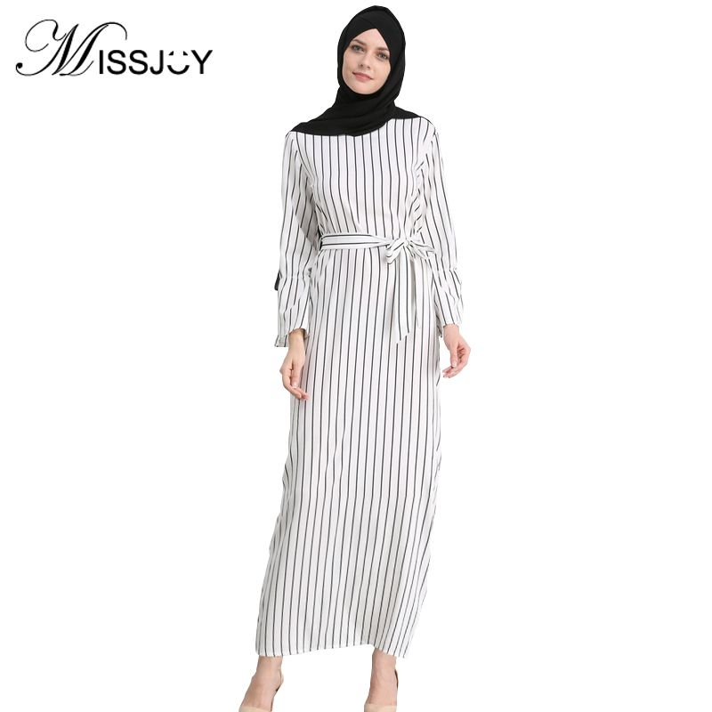 MISSJOY Kleid Dubai Open Abaya Muslim Party Dresses Women Kaftan Cotton Striped Turkish Islamic Arab Women Costume Casual Wear