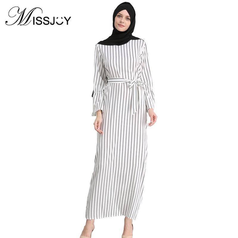 MISSJOY Kleid Dubai Open Abaya Muslim Party Dresses Women Kaftan Cotton Striped Turkish Islamic Arab Women Costume Casual Wear