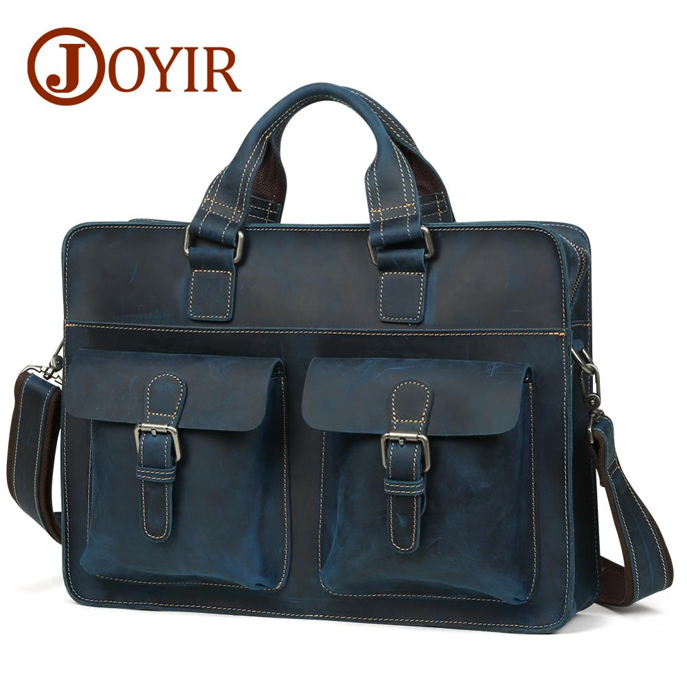 JOYIR Men's Briefcase Vintage Crazy Horse Leather Laptop Bag Business Bag Genuine Leather 15.6