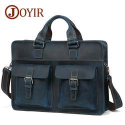 JOYIR herren Aktentasche Vintage Crazy Horse Leder Laptop Tasche Business Tasche Aus Echtem Leder 15,6 Aktentasche Schulter Tasche Handtasche