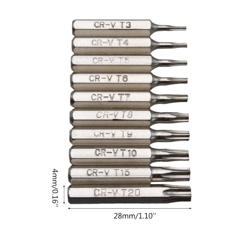 10PCS CR-V Torx Screwdriver Bits Set T3 T4 T5 T6 T7 T8 T9 T10 T15 T20 Mobile Repair Bit Plum Blossoms Repairing Head