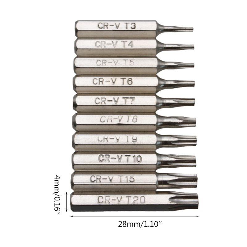 10PCS CR-V Torx Screwdriver Bits Set T3 T4 T5 T6 T7 T8 T9 T10 T15 T20 Mobile Repair Bit Plum Blossoms Repairing Head