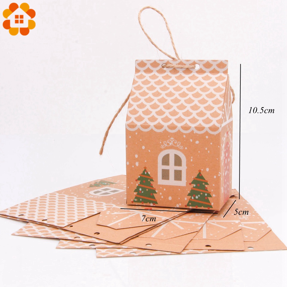 1set House Shape Christmas Candy Gift Bags With Ropes Xmas Tree Cookie Bags Merry Christmas Guests Packaging Boxes Party Decor 4
