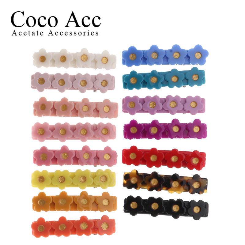 New Design Hot Sale Korean Design OEM ODM Custom Color Flower Bar Candy Color Acrylic Solid Hair Side Grips Clips For Baby Kids