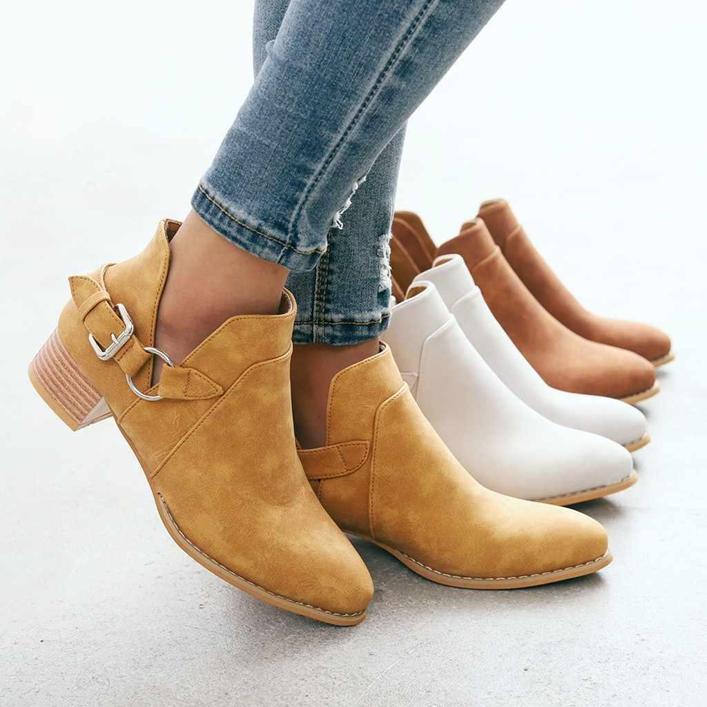 Chelsea Çizmeler Kadın Rahat Sonbahar ve Kış Moda Katı Metal Toka Askısı Sığ Çizmeler Seksi Sivri Burun Ayakkabı Kadın