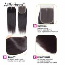 Alibarbara Brazilian Straight Hair With Closure 5x5 6x6 Closure with Bundles Remy Human Hair Bundles With Closure 4x4 Nature