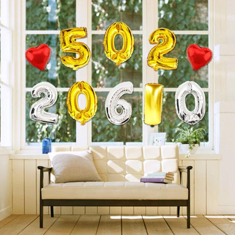 1 buc 16inch Gold Silver Number 0-9 baloane cu folie digitală - Produse pentru sărbători și petreceri - Fotografie 3