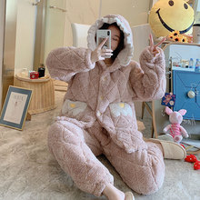 Pajamas Suit Homewear Women Pants Shirt Sleep-Set Flannel Winter 2PCS Thicken Autumn