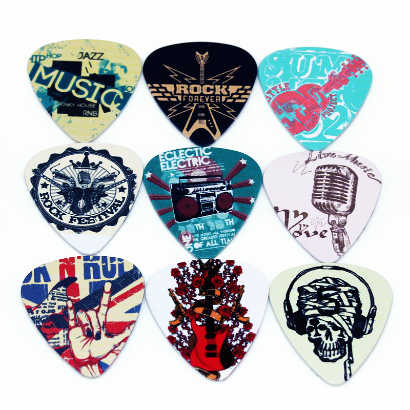 10pcs/Lot 0.71mm Thickness Guitar Strap Guitar Parts Singing Rock Gestures Music Elements Mixed Pattern Guitar Picks