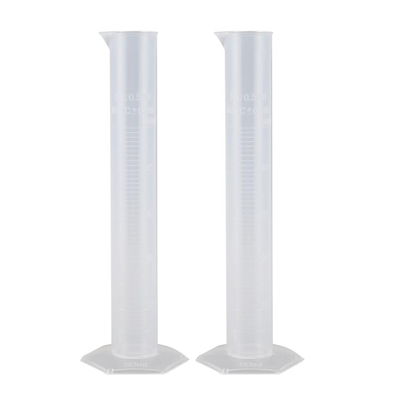 2pcs 50ml Transparent Plastic Graduated Cylinder Lab Measuring Cup