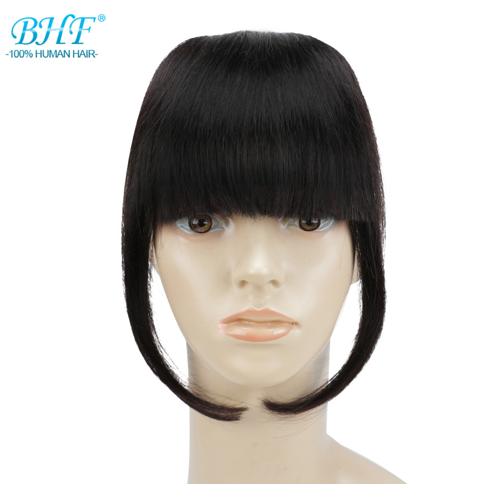 BHF Human Hair Bangs 8inch 20g To 25g  3 Clips In Straight Blunt Bangs Remy Natural Fringe Hair