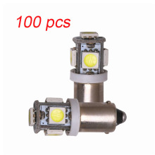 цена на 100pcs BA9S T11 5050 5 SMD LED White Light Bulb Car Reading Width Lights Car 12V Lamp T4W H6W High Quality Interior Lamp Bulb
