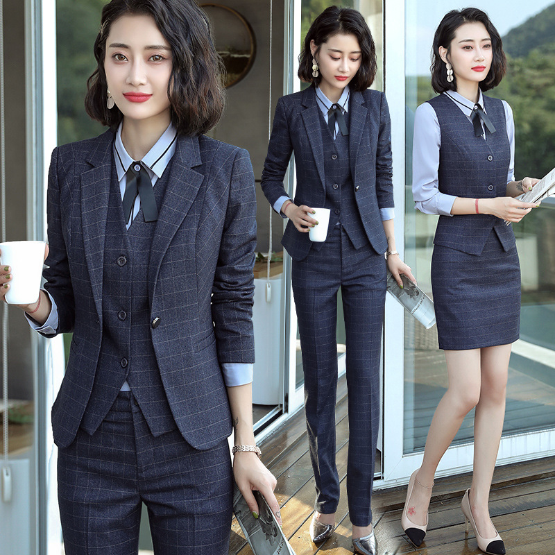 Suit Wear WOMEN'S Suit Autumn Civil Servants Front Desk Interview Formal Wear New Style Fashion Small Suit Work Clothes