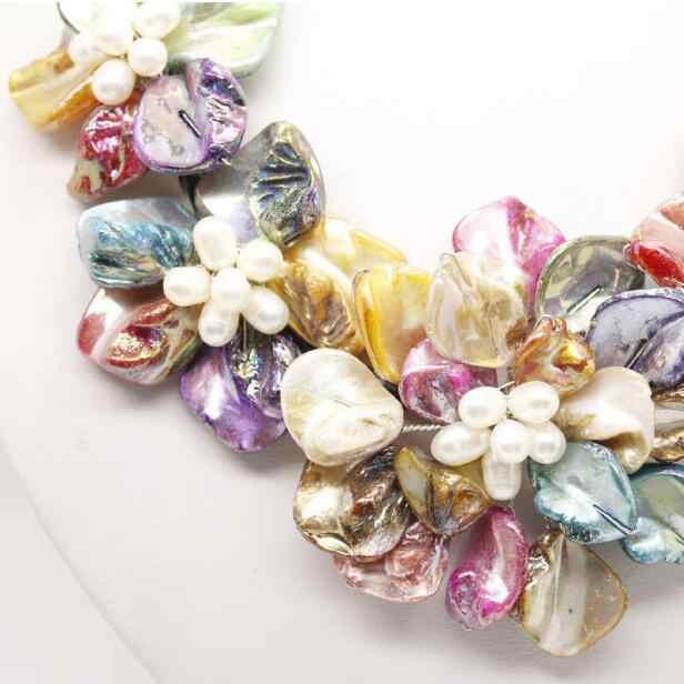 Biżuteria z pereł naszyjnik naturalna biel perła i Multicolor shell perła 5 wisiorek kwiat długi naszyjnik 18 cali darmowa wysyłka