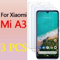 Protector de pantalla de cristal para Xiaomi a3, Protector de pantalla de vidrio templado para xiaomi a3 mia3 3a xiomi xiaomei saomi HD, 3 uds.