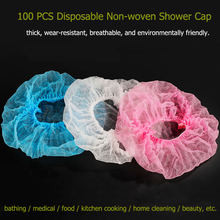 100 PCS Disposable Non-woven Shower Cap Kitchen Household Beauty Tool Cap Female