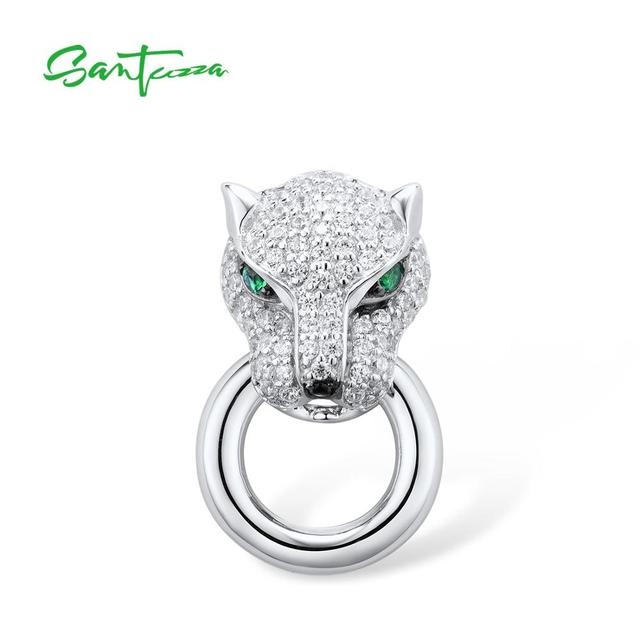 SANTUZZA Silver Pendant For Women Pure 925 Sterling Silver Shiny White Panther Green Black Spinel Delicate Party Fine Jewelry