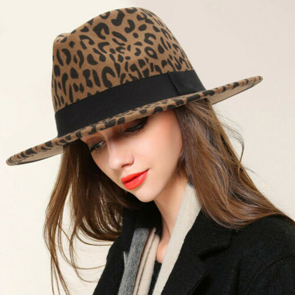 Men Women Vintage Solid Hard Felt Fedora Hat Trilby Cap <font><b>Gangster</b></font> Wide Brim Hat image