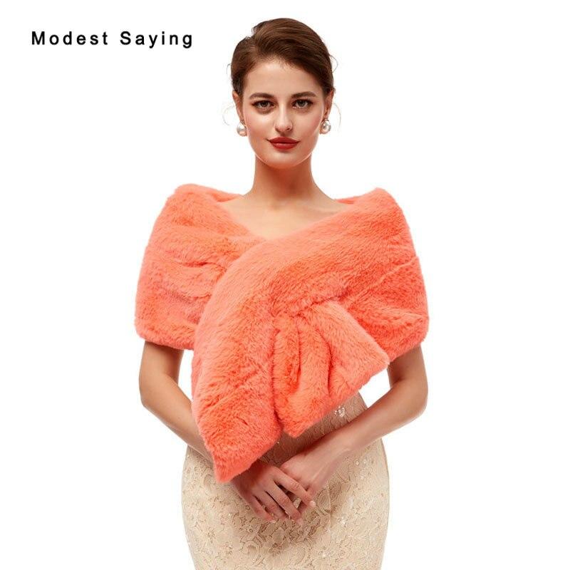 Elegant Orange Evening Party Faux Fur Shawls 2020 New Arrival Formal Women Boleros Stoles Prom Warm Wraps Wedding Accessories