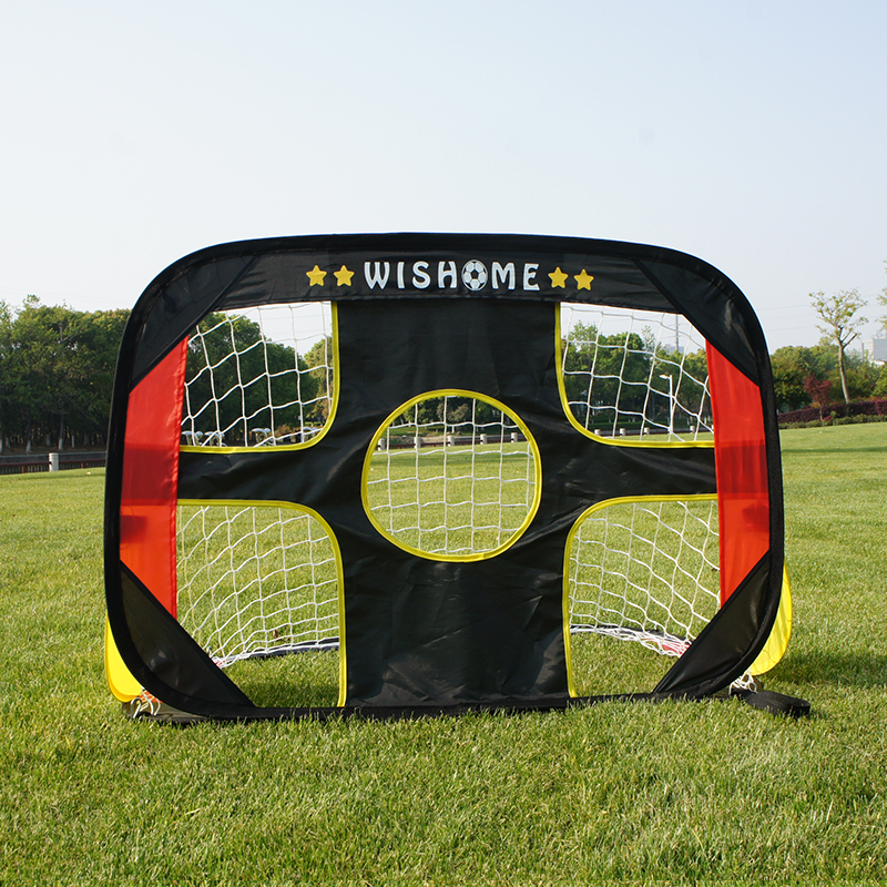 WISHOME Foldable Soccer Goals For Backyard Kids Soccer Net Pop Up Portable Football Goal With Carrying Bag Outdoor Indoor Toy