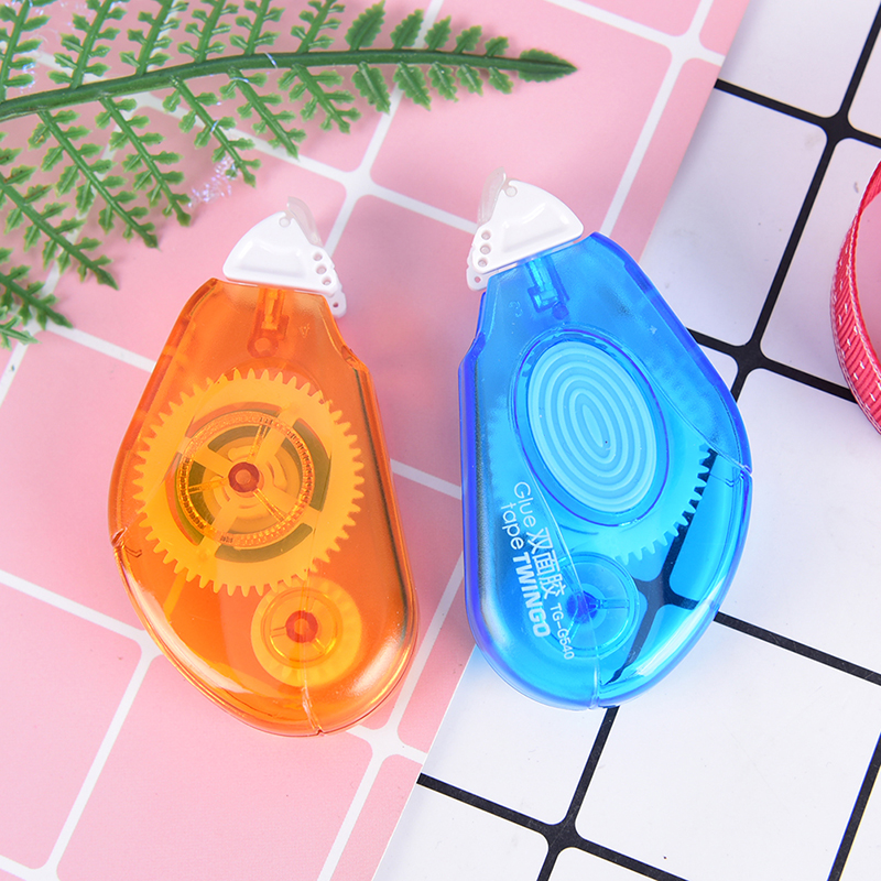 1pc Double Tape Orange/Blue Double Tape Roller Pen Glue Double Sided Tape Adhesive Transfer Refillable Children Stationery