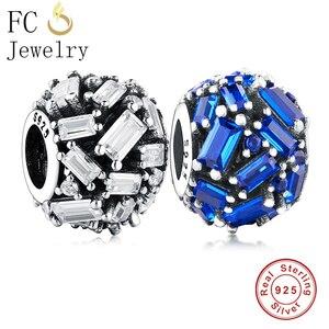 FC ювелирное изделие, оригинальный брендовый браслет с подвесками, 925 пробы, серебро, Sqaure, микро проложить синий циркон, камень, бисер, изготов...
