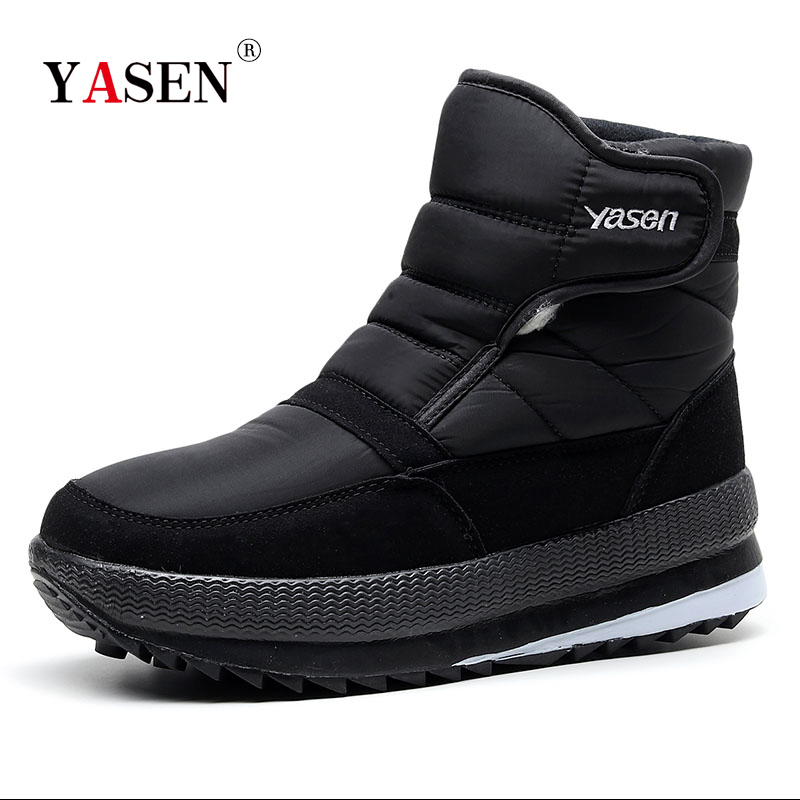 SNOW SHOES  Men Boots Winter With Fur 2019 Warm Snow Boots Men Winter Work Casual Shoes Sneakers High Top Rubber Ankle Boots