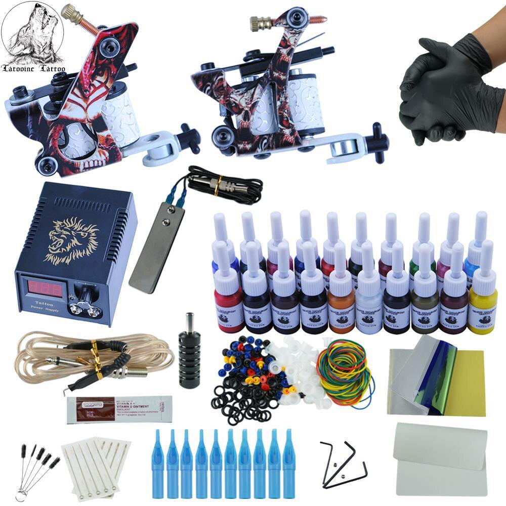 Kit de tatouage professionnel 2 mitrailleuse 20 encres de couleur alimentation électrique Kits de tatouage complets Machine à tatouer Kit de Microblading ensemble de tatouage