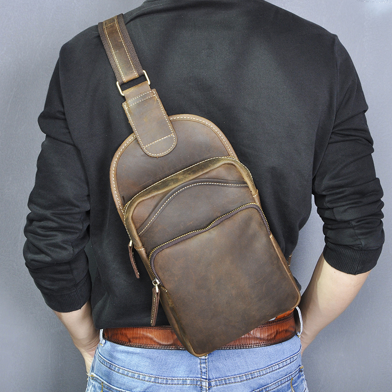 Le'aokuu Men Crazy Horse Leather Casual Vintage Chest Bag Sling Bag Design One Shoulder Bag Crossbody Bag For Male 9977-d