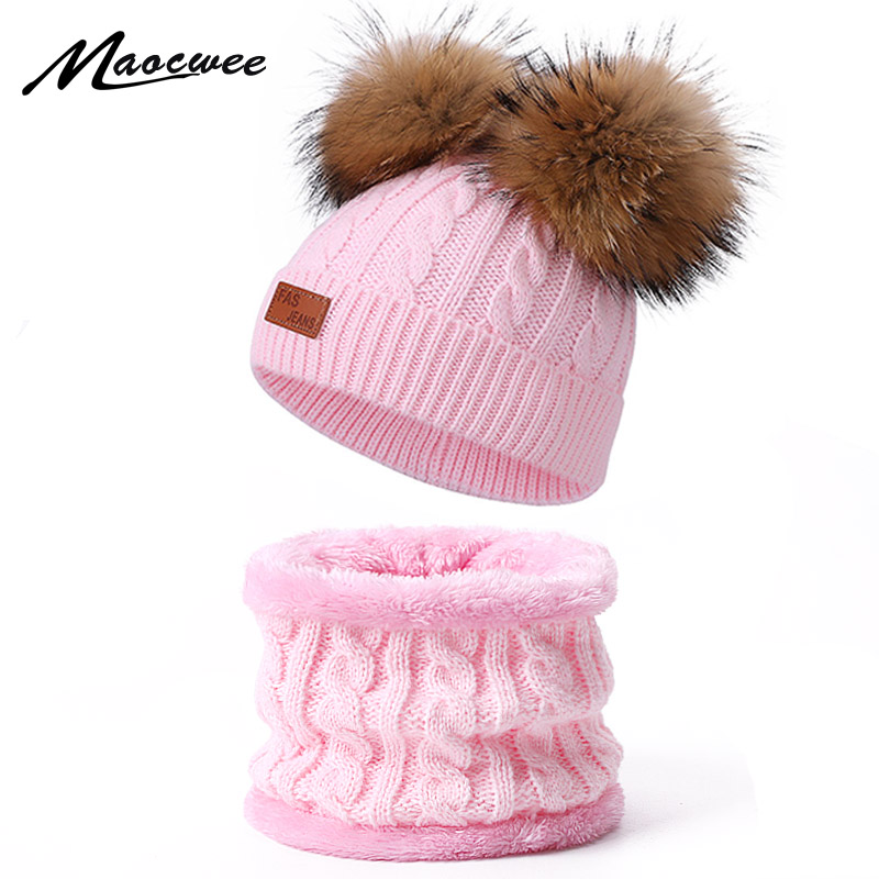 Children's Hats Scarf Hat Set Girls Woman's Pompon Beanie Cap Keep Warm Winter Knitted Skullies Crochet Solid Color Female