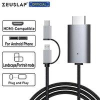Cavo Micro USB tipo C compatibile da Lightning a HDMI-Compatible TV HDTV cavo adattatore AV digitale 1080P per iPhone iPad e telefono Android
