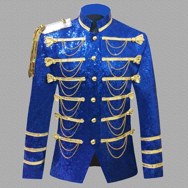 Masculino Stage Performance Sequins Jacket Stand Collar Chains Tassels Blazer Suit Single Breasted Shiny Coat 5XL