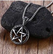 Stainless Steel Supernatural Necklace Devils Trap Pentagram Pentacle Vintage Retro Antique Silver Pendant Movie Jewelry