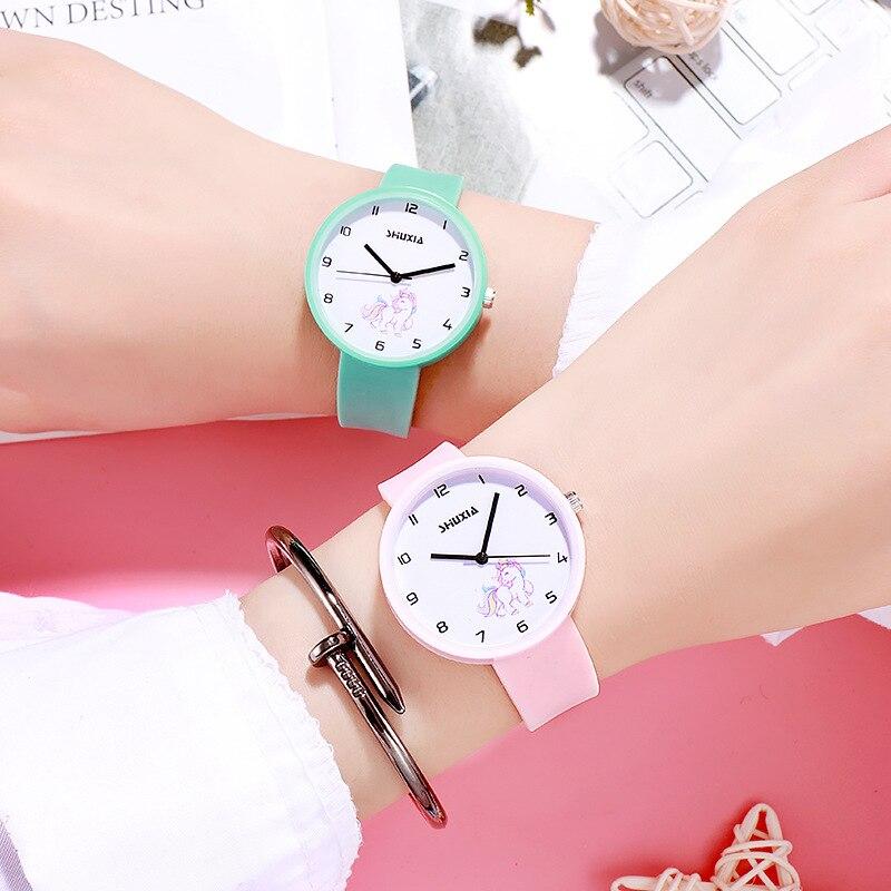 Cute Pink Horse Cartoon Baby Watch Girl Kid Birthday Gift Black Boy Kids Sport Quartz Wirst Watches Clock Children Watch Relojes