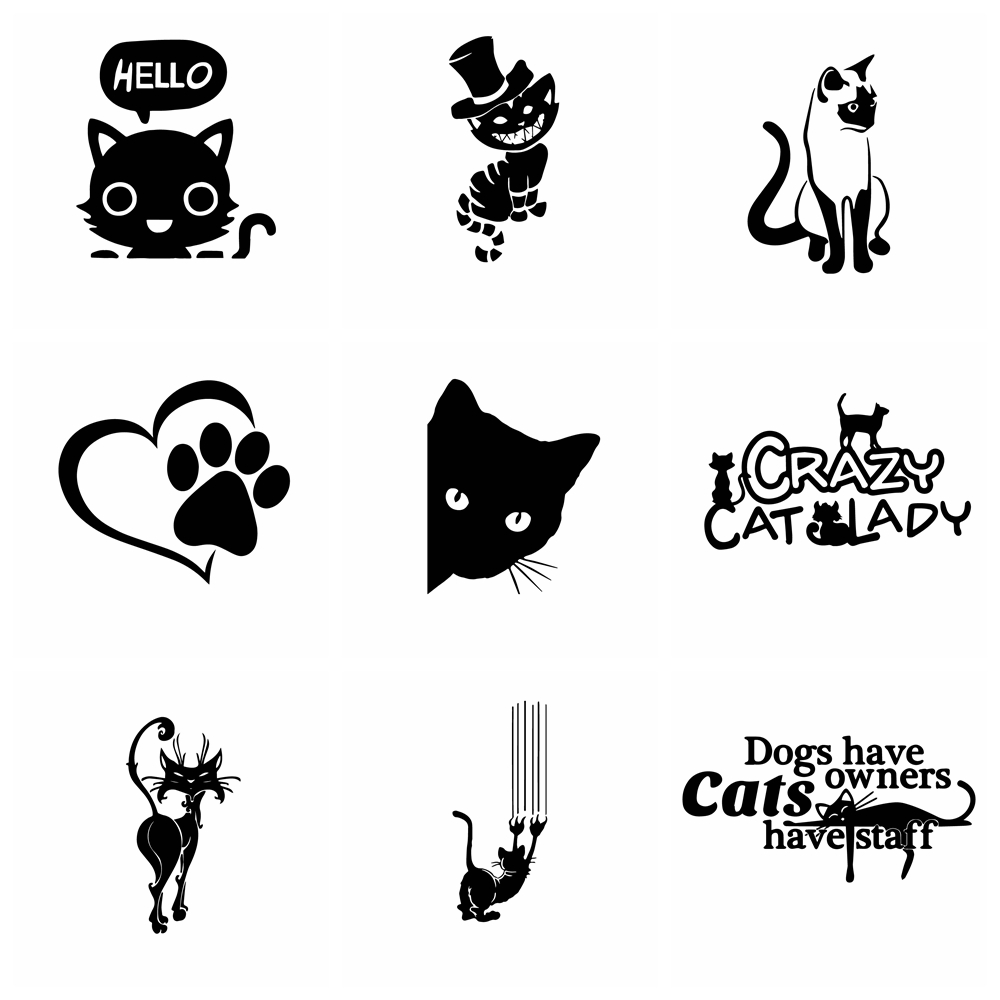 10 Styles Funny PET Cat Car Stickers And Motorcycle Car Sticker Car-styling Cars Accessories Decoration Glue Sticker Car Body