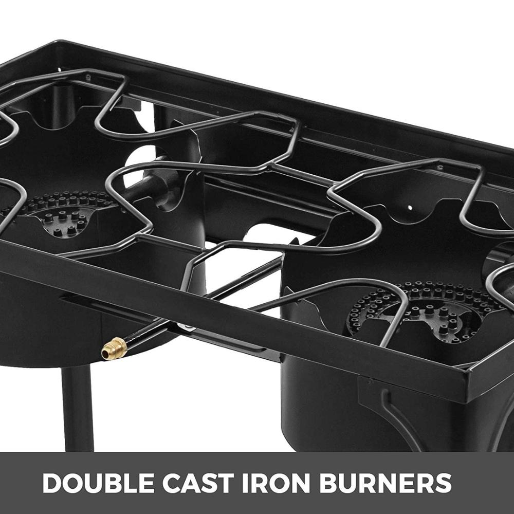 2 Adjustable Burners Stove 32 x 17 Double Burner Stove Griddle Flat Top Stainless Steel with 4 Griddle Spatula & Scraper - 5