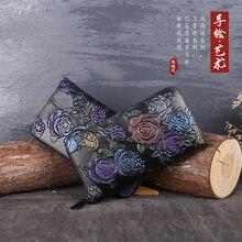 Portamonete e portafogli da donna in vera pelle di mucca dipinta a mano in rilievo dipinta a mano in stile cinese di lusso