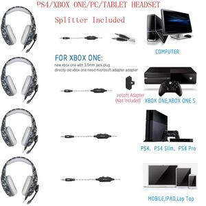 Image 2 - Camouflage PS4 Gaming Headphones 3.5mm Wired Stereo Bass Headsets Casque with Microphone + Gaming Mice For PS4 PC Gamer XBOX