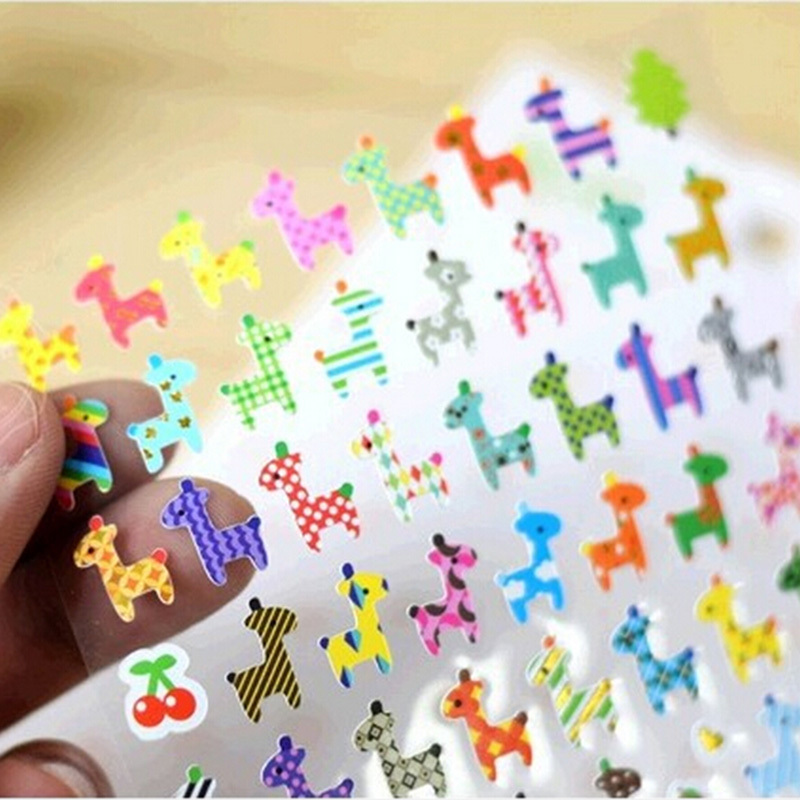 Cute Owl Giraffe Print Memo Sticker Cute Drawing Market Diary Transparent Scrapbooking Calendar Album Deco Sticker Kids Gift
