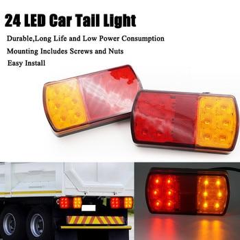 цена на 2pcs 24 LED Taillights 12V Trailer Truck Lorry Stop Rear Tail Light Auto Car Signal Lamp Caution Indicator Fog Light