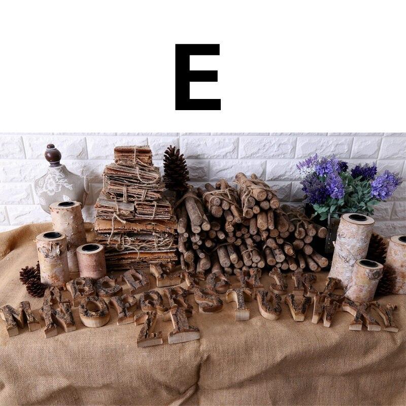 Вместе с коры твердой древесины Ретро Деревянный Английский алфавит номер для кафетерий украшение для дома, ресторана винтажная самодельная буква - Цвет: E