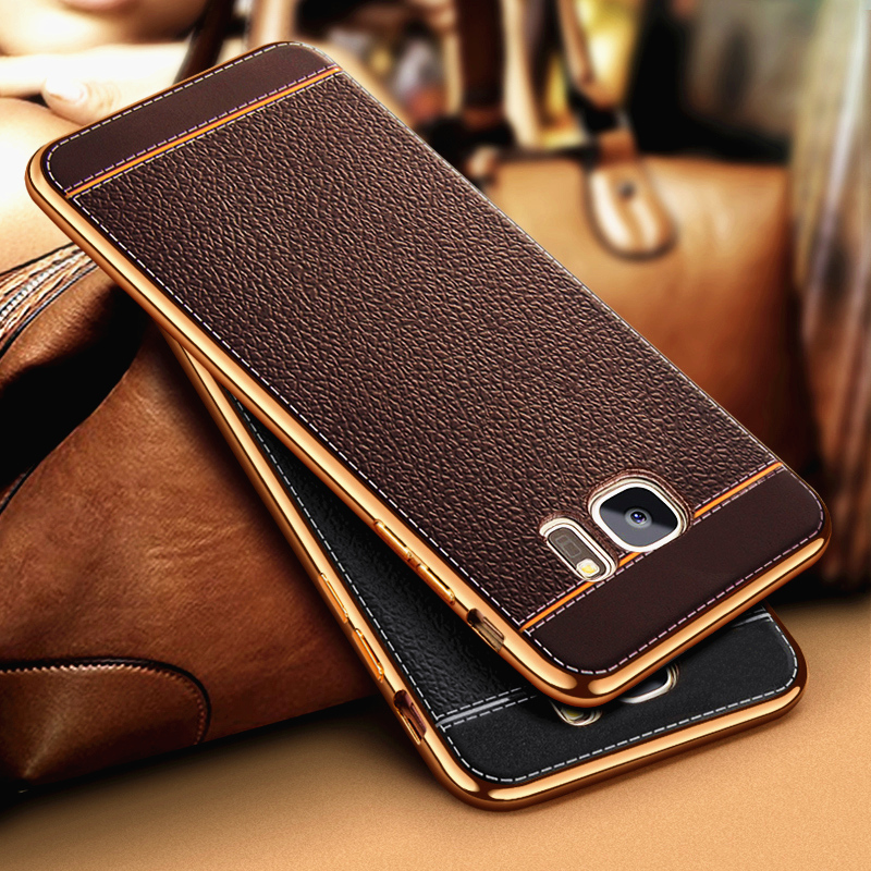 Luxury Litchi Business Leather Pattern Phone <font><b>Case</b></font> For <font><b>Samsung</b></font> Galaxy <font><b>S7</b></font> S6 <font><b>Edge</b></font> G9300 Ultra Thin Soft Silicone <font><b>Cases</b></font> Retro Cover image