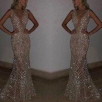 Mermaid Sequins Golden Sexy Evening Dress Long Prom Party Dresses Evening Gown Formal Dress Women Elegant Robe De Soiree