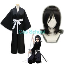 Cos School Bleach Kuchiki Rukia Cosplay Kostuum Rukia Kuchiki Pruiken En Kimono Uniform Sets Die Pa Bleach Kostuums(China)